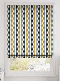 Hounds Tooth Beach Blue Roman Blind thumbnail image