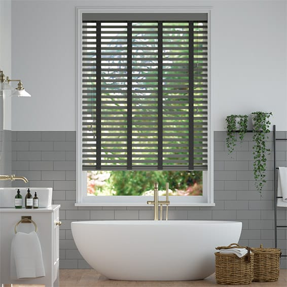 Husky Grey and Noir Wooden Blind - 50mm Slat