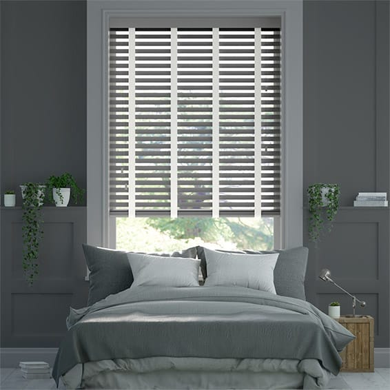 Husky Grey and White Chantilly Wooden Blind - 50mm Slat