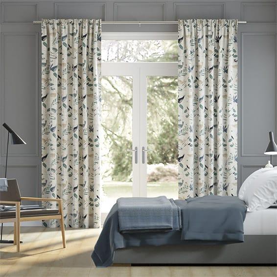 Hygge Birds Vintage Linen Pastoral Blue Curtains