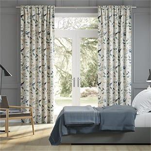 Hygge Birds Vintage Linen Pastoral Blue Curtains thumbnail image