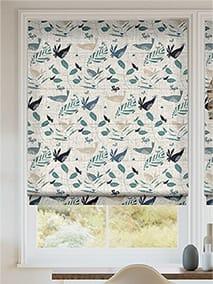 Hygge Birds Vintage Linen Pastoral Blue Roman Blind thumbnail image