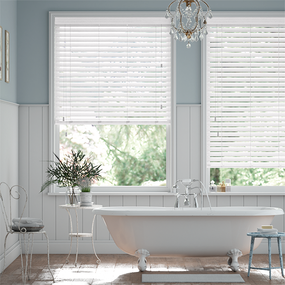 Ice White Faux Wood Blind - 50mm Slat