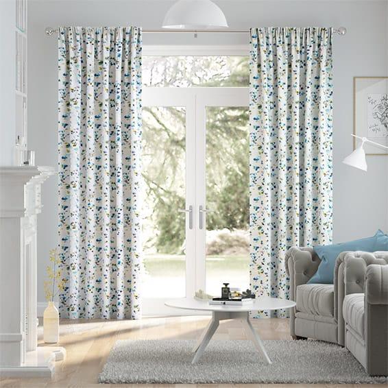 Kyoto Blossom Blue Curtains