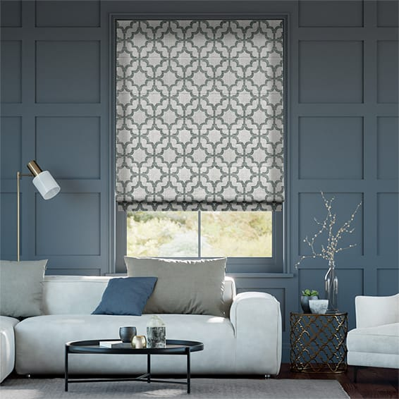 Lattice Silver Roman Blind