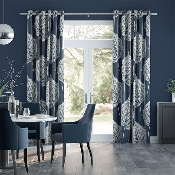 Leaf Indigo Curtains