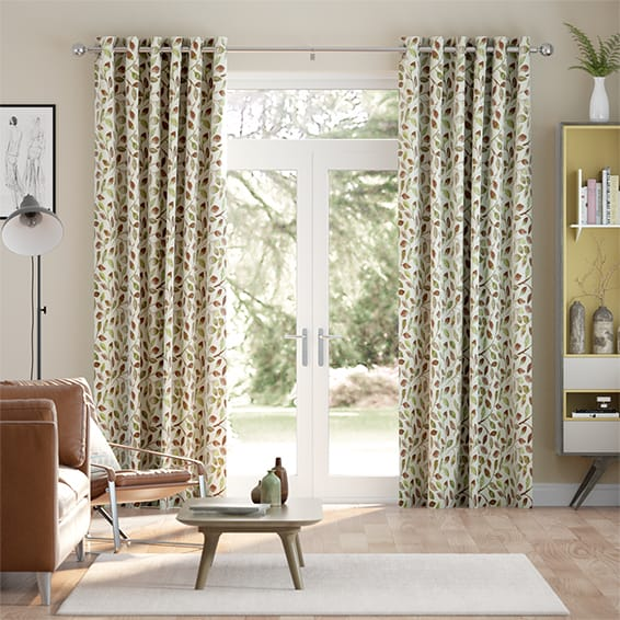 Leafy Grove Terracotta Curtains