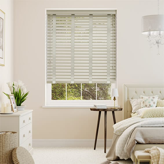 Limestone Madera & Platinum Faux Wood Blind - 50mm Slat