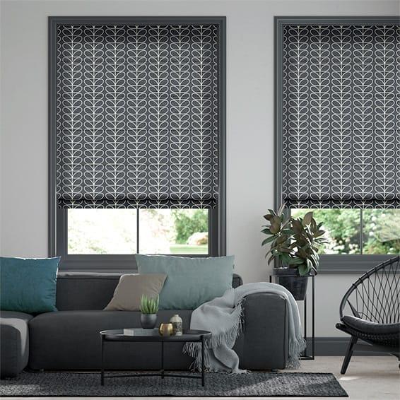 Linear Stem Cool Grey Roman Blind