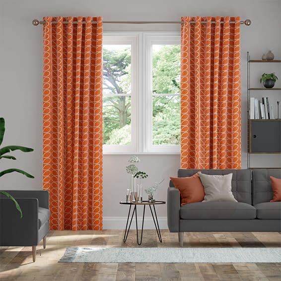 Linear Stem Papaya  Curtains