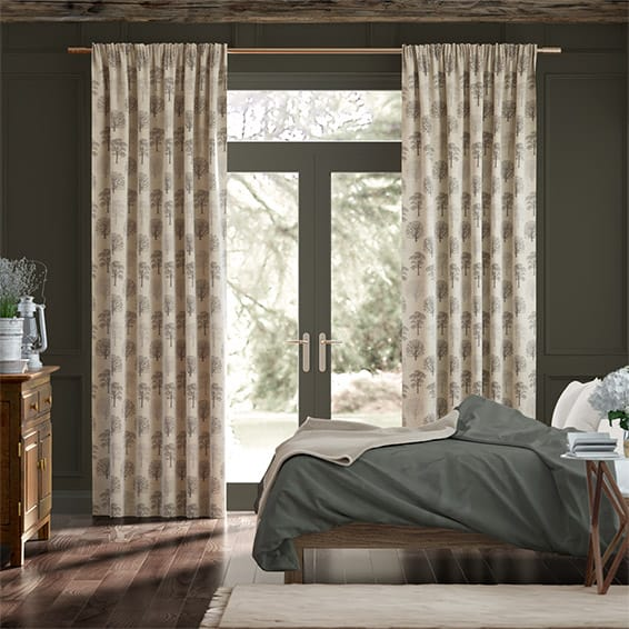 Little Orchard Charcoal Curtains