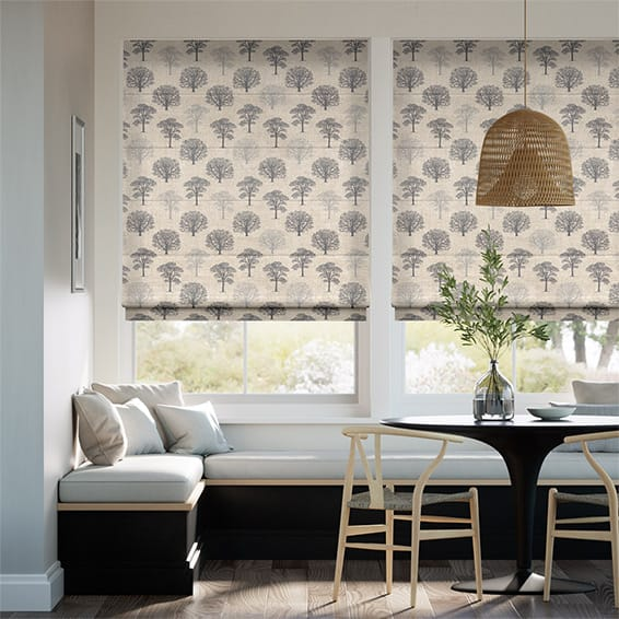Little Orchard Charcoal Roman Blind