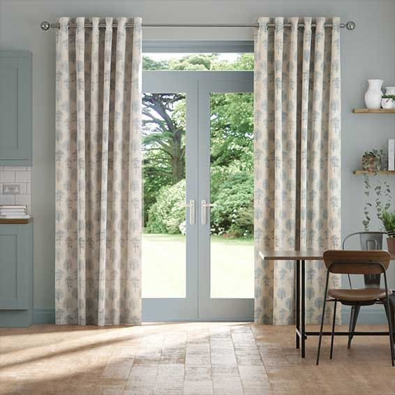 Little Orchard Soft Blue Curtains