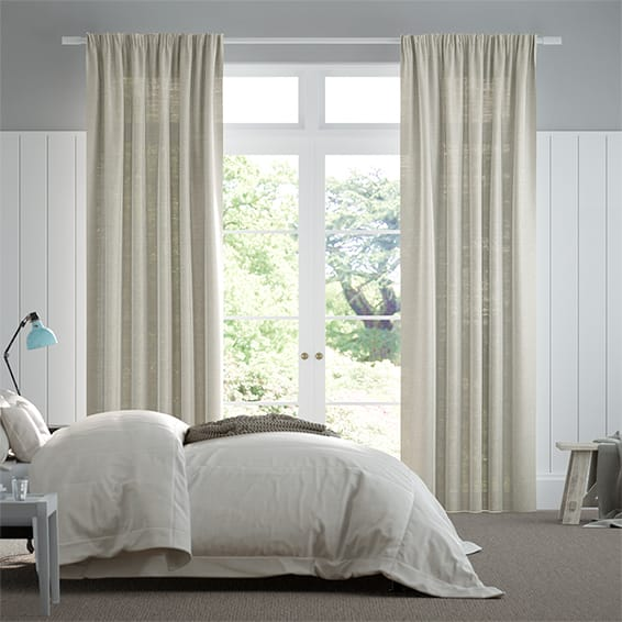 Lumiere Unlined Ahisma Luxe Faux Silk Oyster Curtains