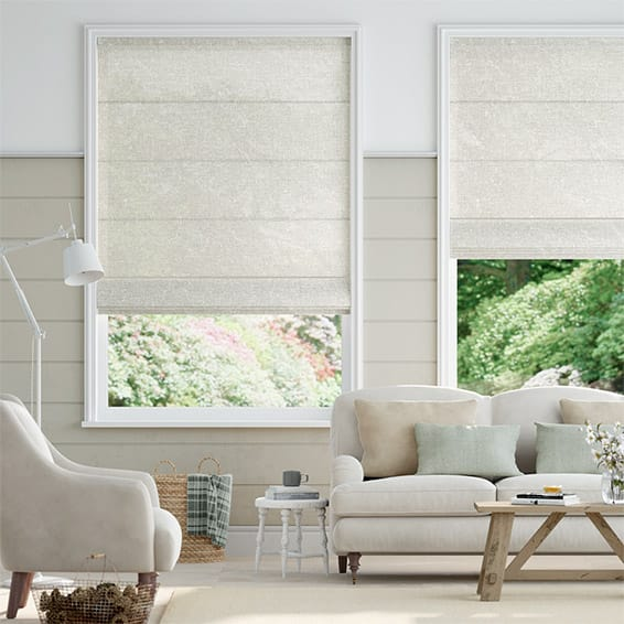 Lumiere Unlined Ahisma Luxe Faux Silk Pearl Roman Blind