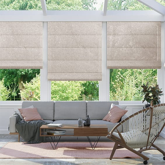 Lumiere Unlined Ahisma Luxe Faux Silk Rose Gold Roman Blind