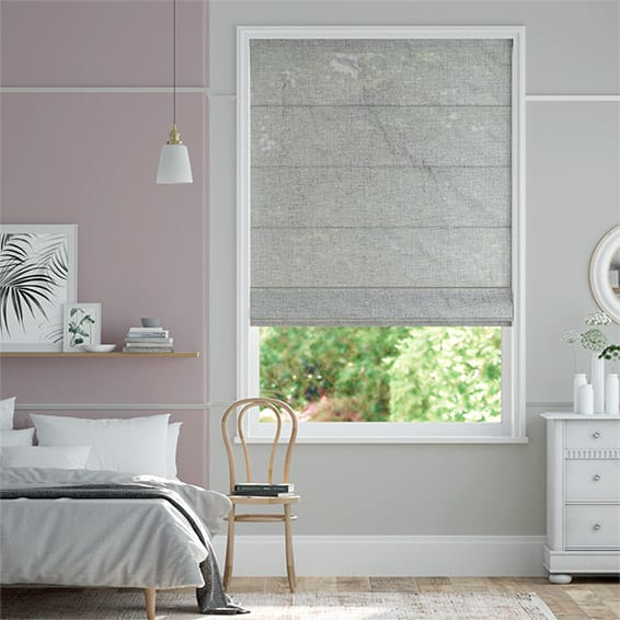 Lumiere Unlined Ahisma Luxe Faux Silk Silver Roman Blind