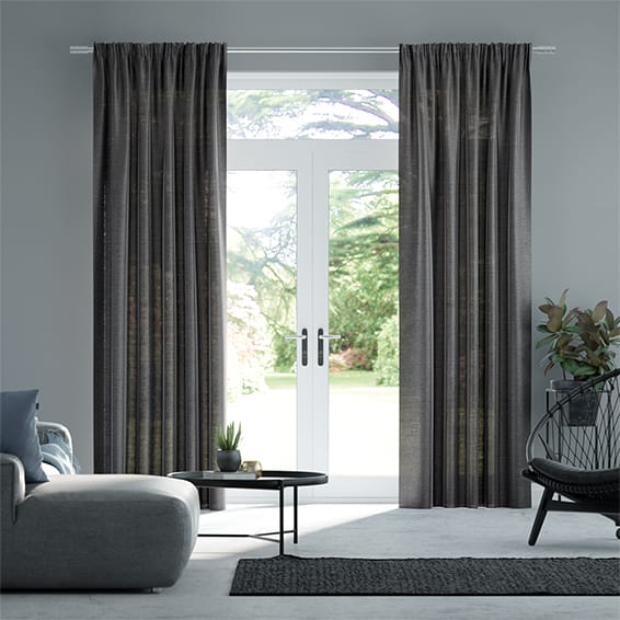 Lumiere Unlined Ahisma Luxe Faux Silk Slate Curtains