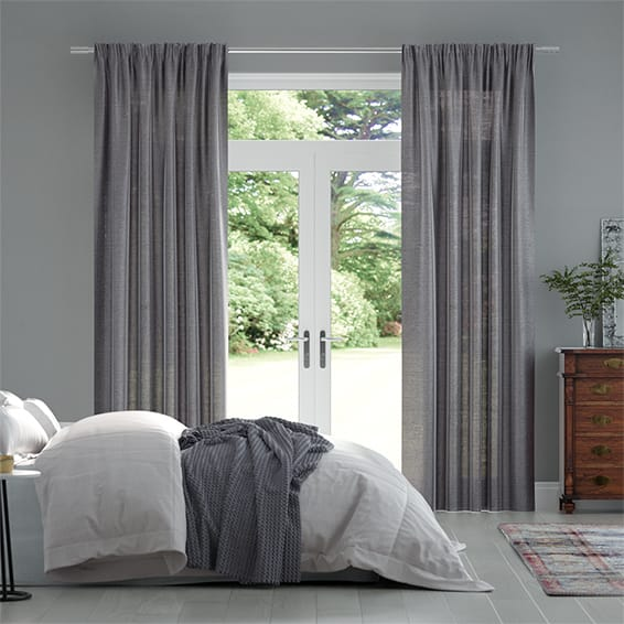 Lumiere Unlined Ahisma Luxe Faux Silk Warm Grey Curtains