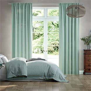 Lumiere Unlined Bijou Linen Aqua Curtains thumbnail image