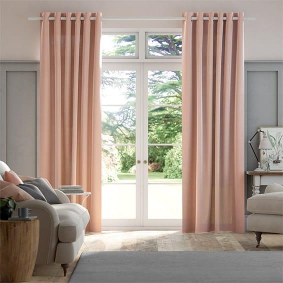 Lumiere Unlined Bijou Linen Blush Pink  Curtains