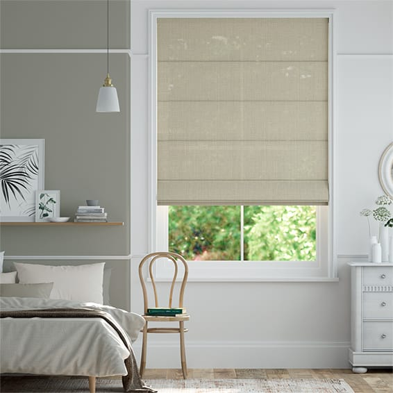 Lumiere Unlined Bijou Linen Latte  Roman Blind