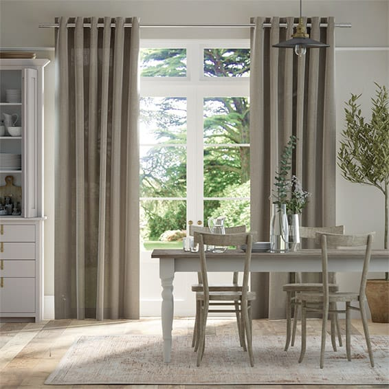 Lumiere Unlined Bijou Linen Taupe  Curtains