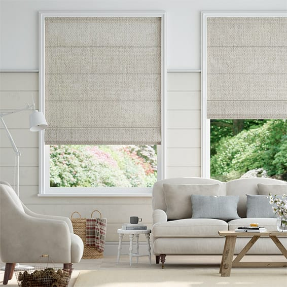 Lumiere Unlined Harlow Stone Roman Blind