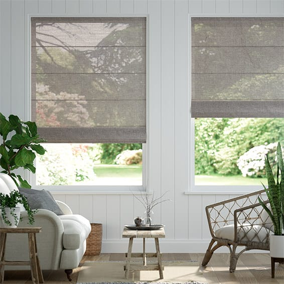 Lumiere Unlined Luster Glacier Grey Roman Blind