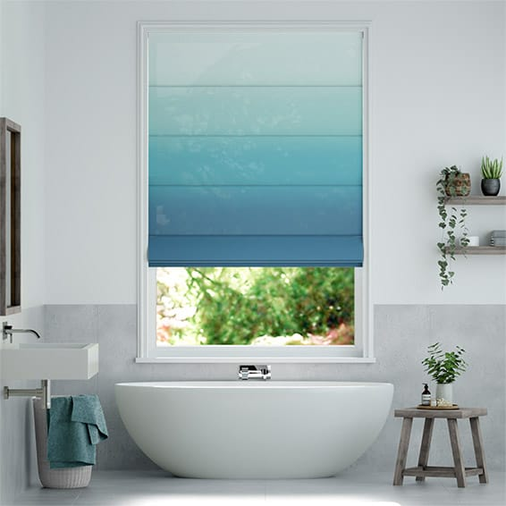 Lumiere Unlined Ombre Teal Roman Blind