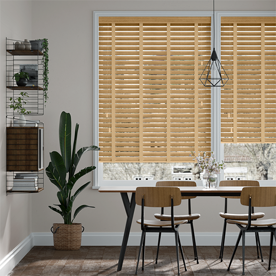 Majestic Oak & Sand Faux Wood Blind - 50mm Slat