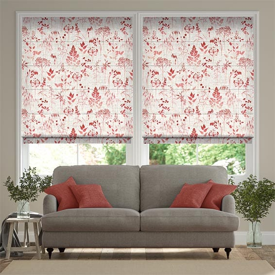Meadow Coral Roman Blind