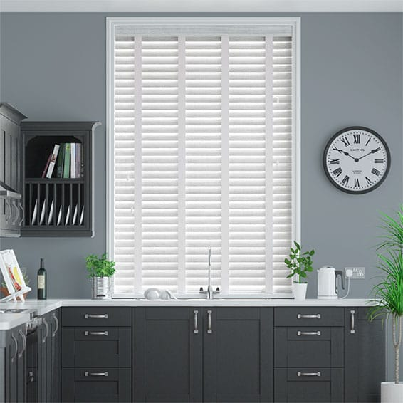 Monterey Mist & White Faux Wood Blind - 50mm Slat