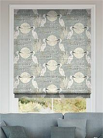 Moonlit Cranes Linen Silver Roman Blind thumbnail image