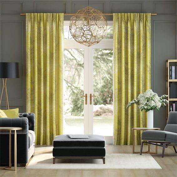 Moonlit Fern Faux Silk Citrus Curtains
