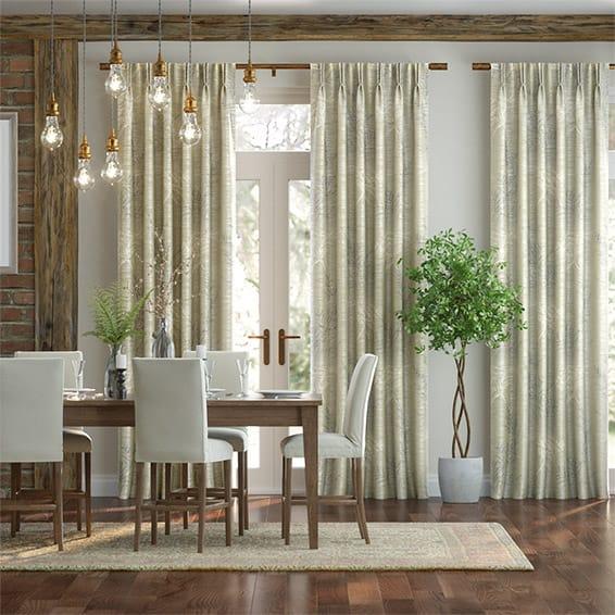 Moonlit Fern Faux Silk Golden Summer Curtains