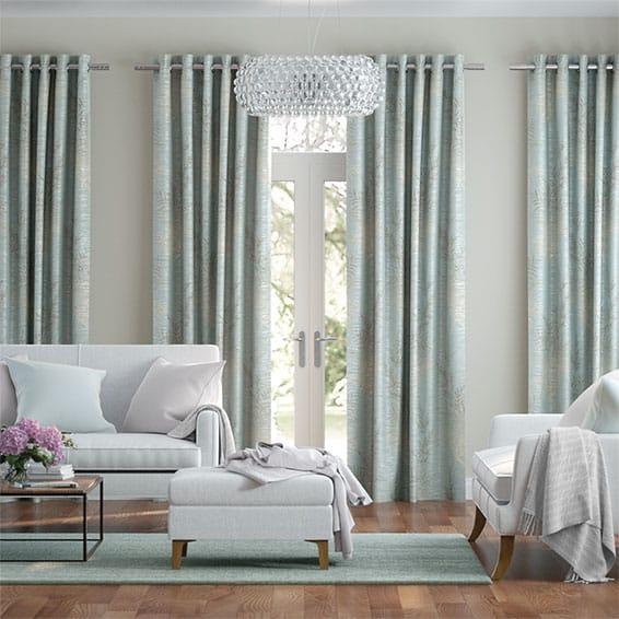 Moonlit Fern Faux Silk Pastel Blue Curtains