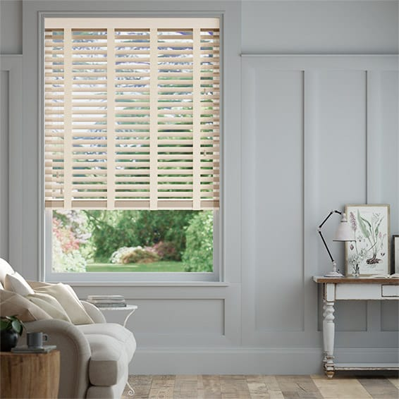 Moonstone & Stone Wooden Blind with Tapes - 50mm Slat