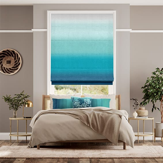 Ombre Teal Roman Blind
