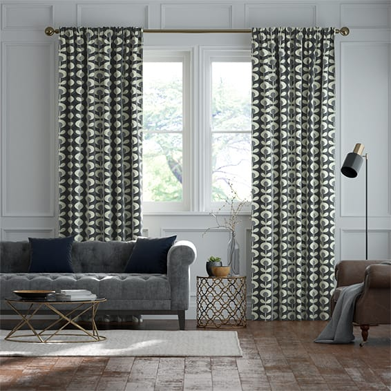 Oval Flower Cool Grey Curtains