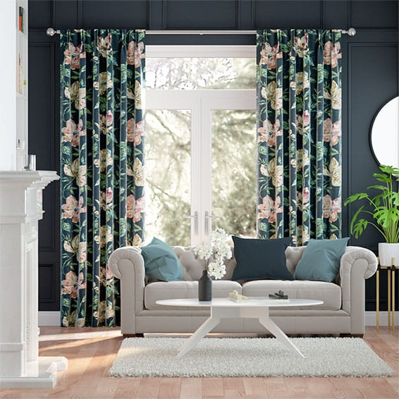 Painterly Floral Faux Silk Midnight Curtains