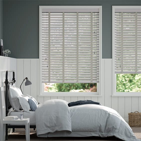 Pale Grey and Elephant Grey Wooden Blind - 50mm Slat