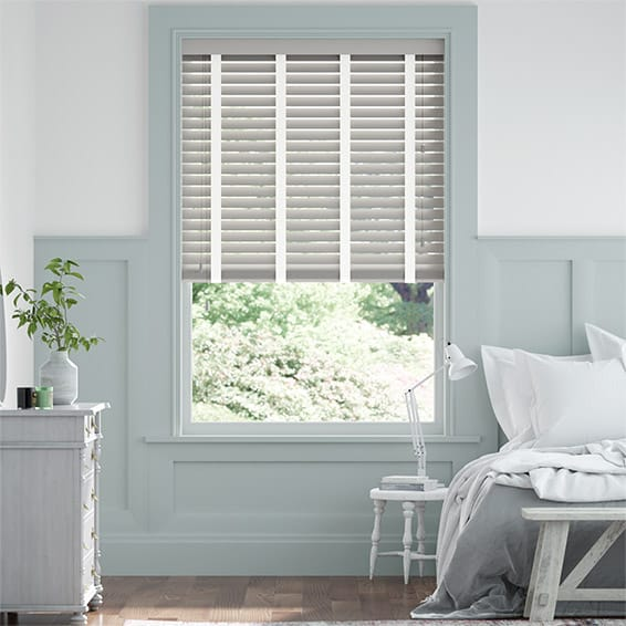 Pale Grey and White Chantilly Wooden Blind - 50mm Slat