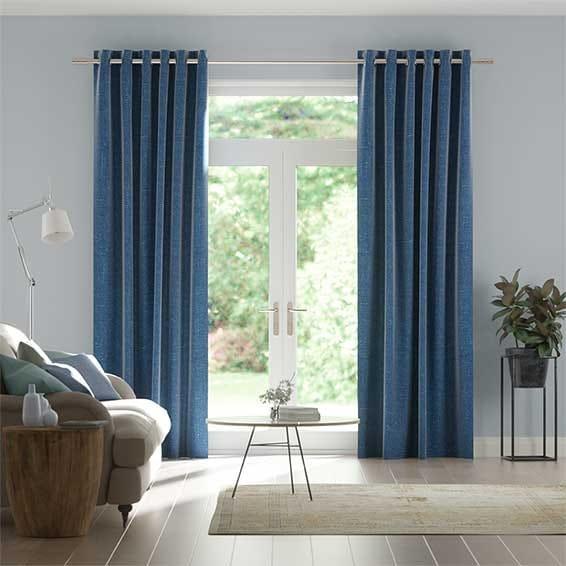 Paleo Linen Blue Azure Curtains