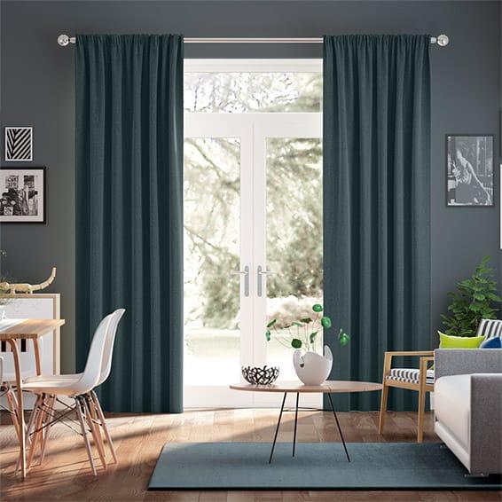 Paleo Linen Gulf Blue  Curtains