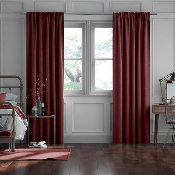 Paleo Linen Ruby Red  Curtains