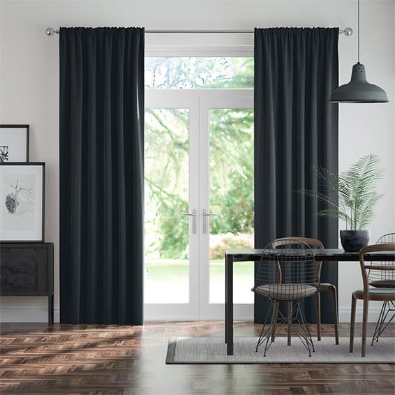 Paleo Linen Rustic Blue  Curtains