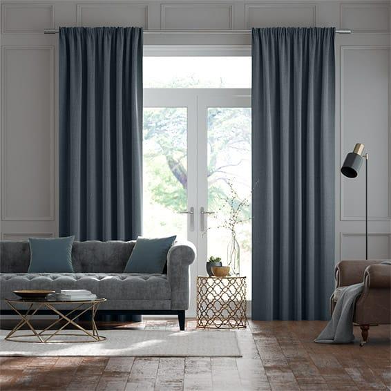 Paleo Linen Smoky Blue  Curtains
