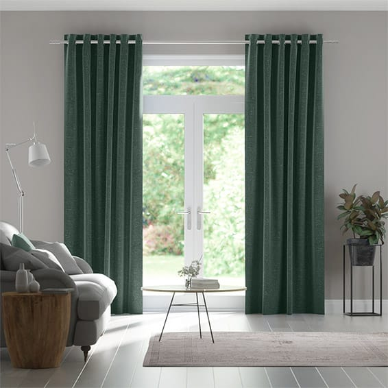 Paleo Linen Teal Twilight  Curtains