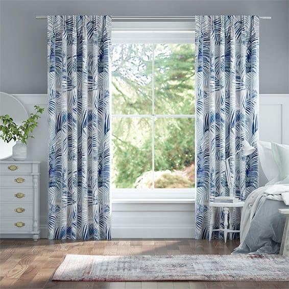 Palm Leaf Blue Curtains